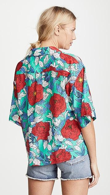 Diane von Furstenberg Short Sleeve Collared Beach Shirt