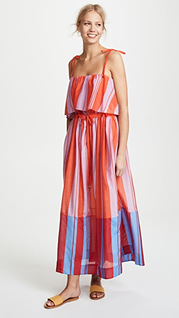 Diane von Furstenberg Sleeveless Pleated Maxi Dress - Harling Stripe Multi