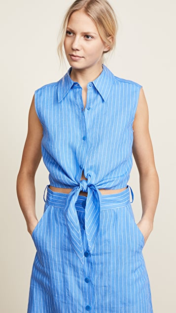 Diane von Furstenberg Sleeveless Collared Wrap Top - Hydrangea/Ivory
