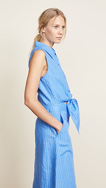 Diane von Furstenberg Sleeveless Collared Wrap Top