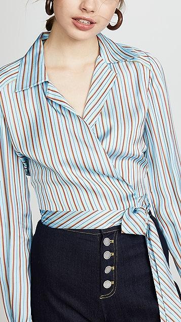 Diane von Furstenberg Deep V Wrap Blouse