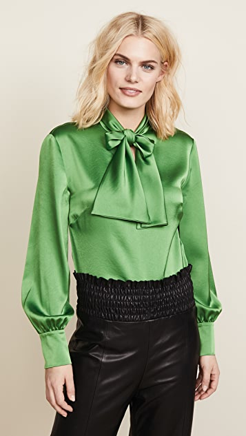 Diane von Furstenberg High Neck Tie Blouse