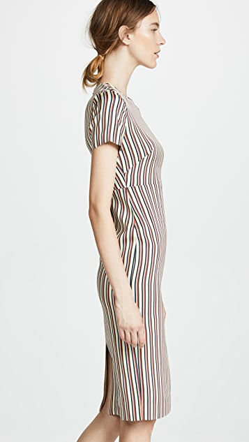 Diane von Furstenberg Striped Crew Neck Dress