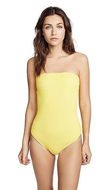 Diane von Furstenberg Strapless Smocked Swimsuit