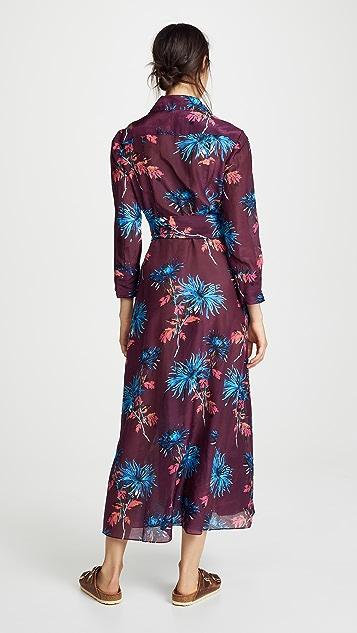 Diane von Furstenberg Floor Length Collared Wrap Dress