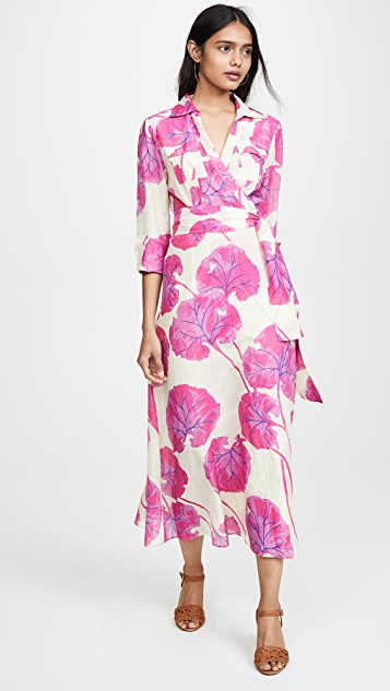 Diane von Furstenberg Collared Floor Length Dress