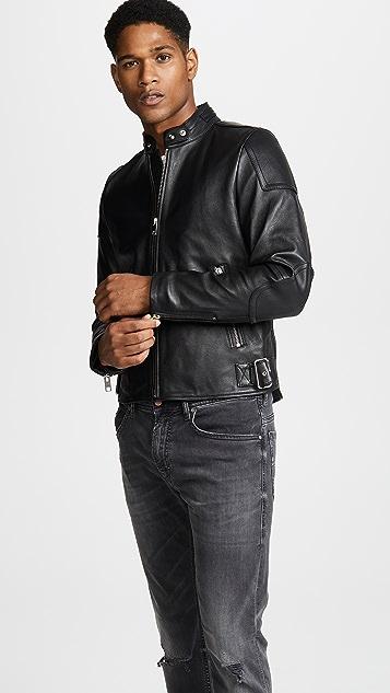 Diesel Leather Biker Jacket with Side Buckles