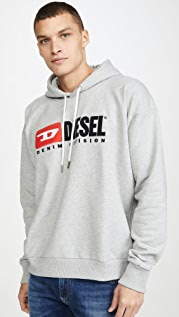 Diesel Long Sleeve S-DIVISION Logo Hooded Sweatshirt