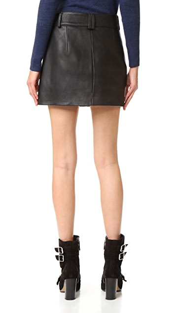 Dion Lee Leather Biker Miniskirt