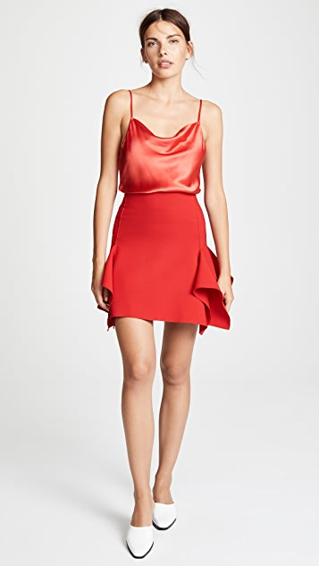 Dion Lee Double Wool Miniskirt with Box Ruffles