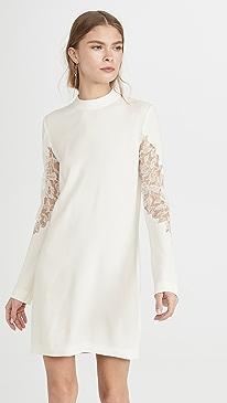 Lace Applique Mini Long Sleeve Dress