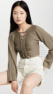 Dion Lee V Neck Braid Sweater