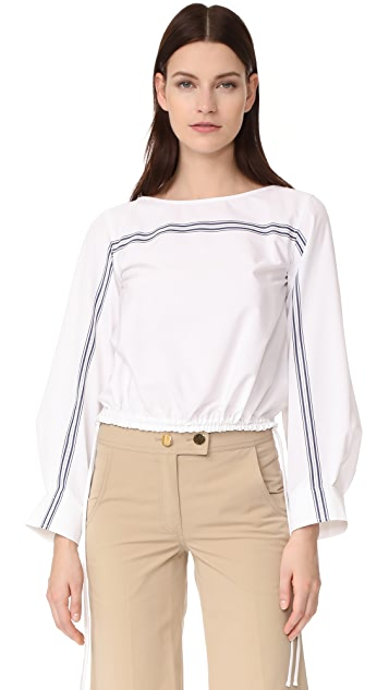 Derek Lam Long Sleeve Boat Neck Top