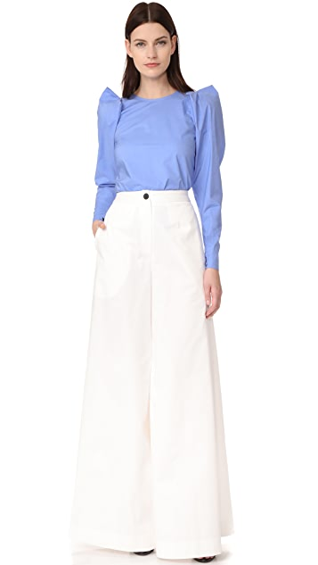 Derek Lam Puff Shoulder Blouse