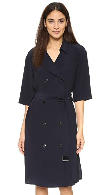 DKNY 3/4 Sleeve Dress with Notched Collar