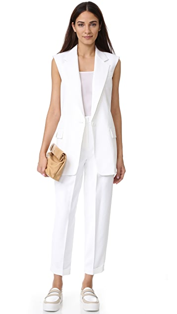 DKNY Notch Collar Vest with Open Back