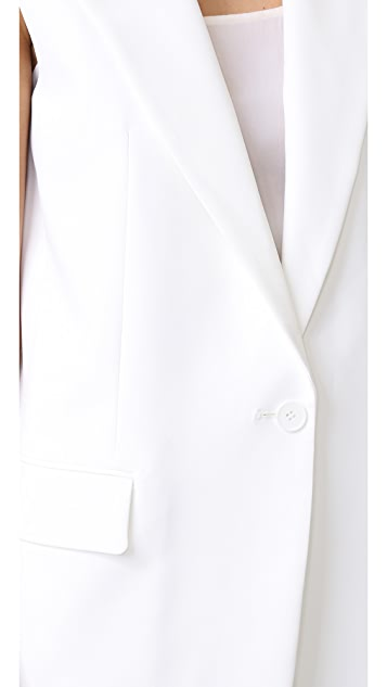 DKNY Notch Collar Vest with Open Back