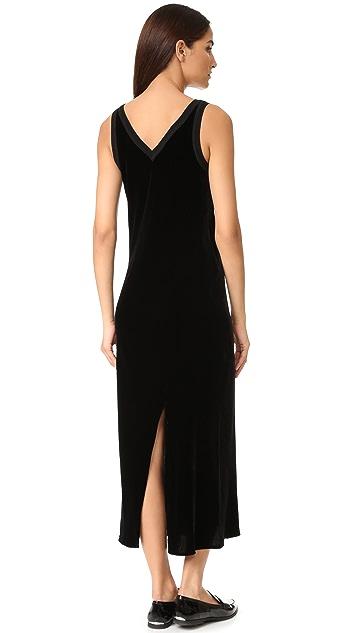 DKNY V Neck Slip Dress with Back Slit