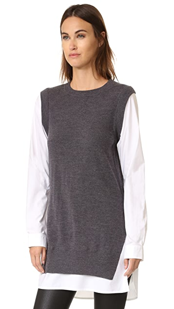 DKNY Pure DKNY Poplin Sleeve Tunic Sweater