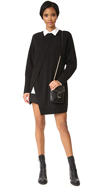 DKNY Crew Neck Rib Tunic with Combo Panel