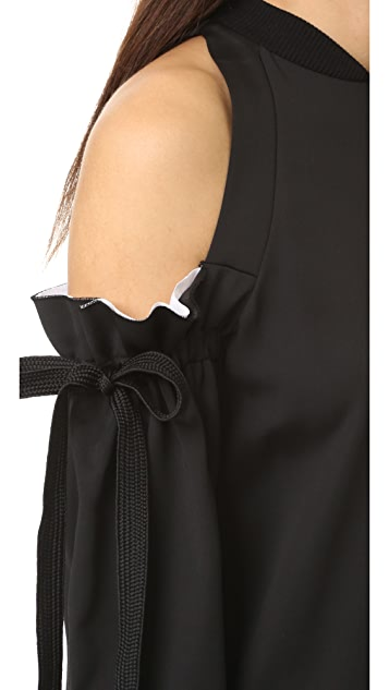 DKNY Cold Shoulder Dress with Raw Edges