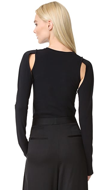 DKNY Knit Top with Cutouts