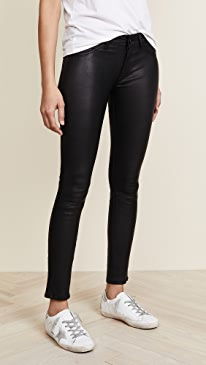 Emma Power Legging Leather & Coated Jeans