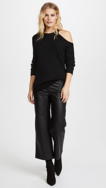 David Lerner Asymmetrical Cold Shoulder Sweater
