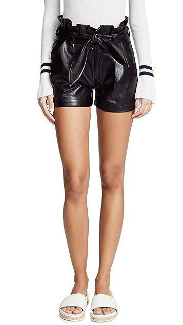 David Lerner Paperbag Waist Belted Shorts