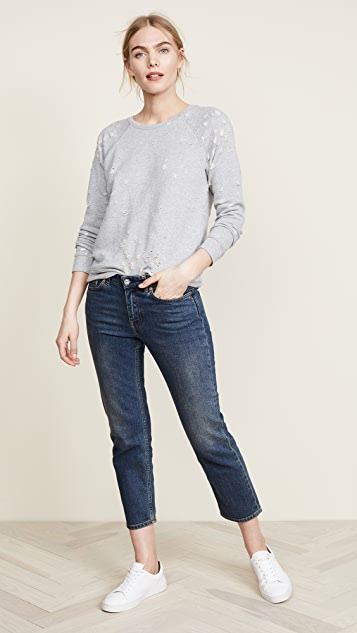 David Lerner Distressed Raglan Sweatshirt