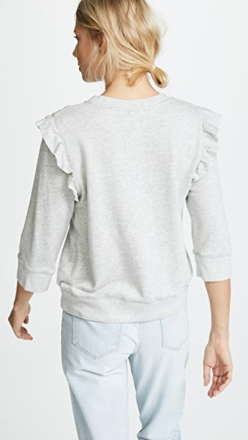 David Lerner 3/4 Sleeve Ruffle Pullover