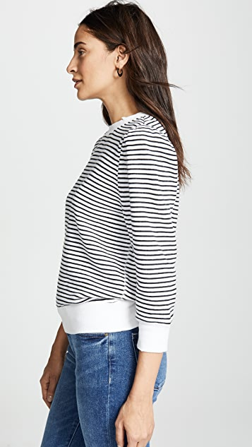 David Lerner Striped Puff Shoulder Sweatshirt