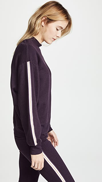 David Lerner Mock Neck Pullover with Taping