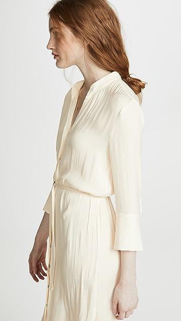 David Lerner Длинное платье-рубашка с рукавами три четверти