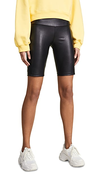 David Lerner Vegan Leather Bike Shorts