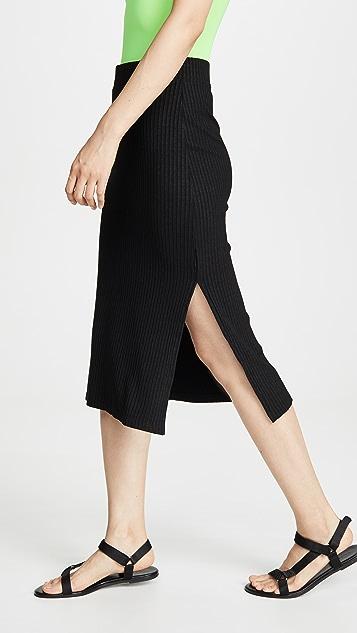 David Lerner Midi Side Slit Skirt