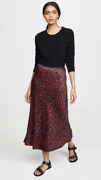 David Lerner Bias Leopard Slip Skirt