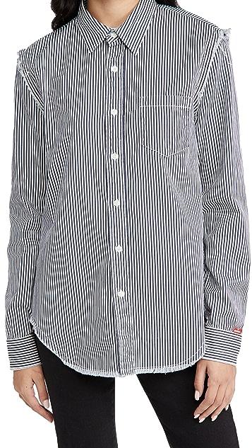 Denimist Frayed Edge Shirt in Navy Stripe