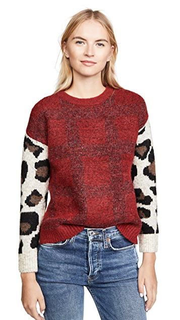DNA Plaid Leopard Sweater