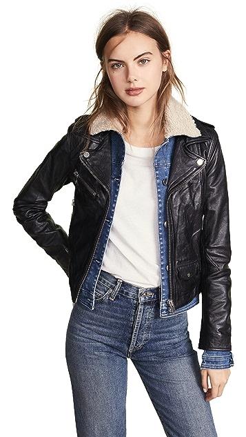 Doma Sherpa Denim & Leather Jacket