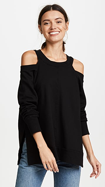 Daniel Patrick Cold Shoulder Sweatshirt - Black