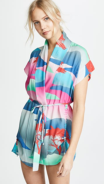 Double Rainbouu Moon Safari Little Beach Kimono - Multi