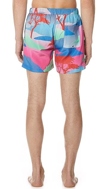 Double Rainbouu Moon Safari Night Swim Shorts