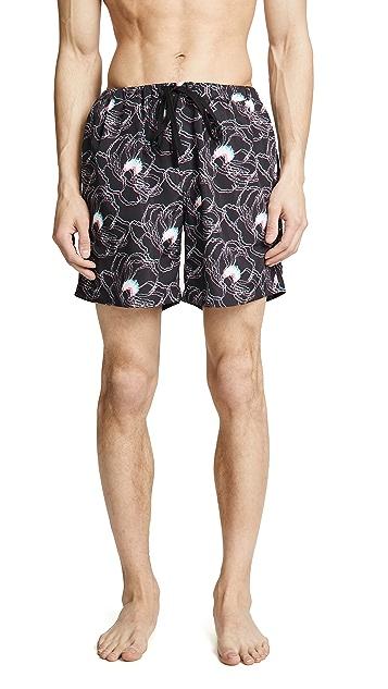 Double Rainbouu 3D Flora Night Swim Shorts