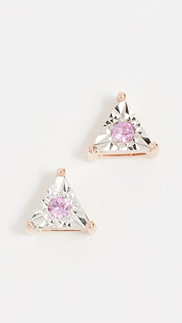 Dana Rebecca Emily Sarah Diamond Sapphire Studs - Rose Gold