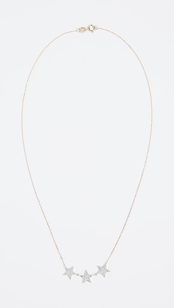 Dana Rebecca 14k Gold 3 Star Necklace