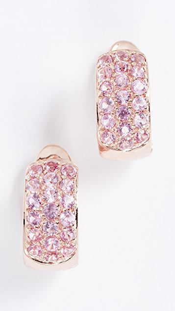 Dana Rebecca 14k Gold Pink Sapphire Huggie Earrings
