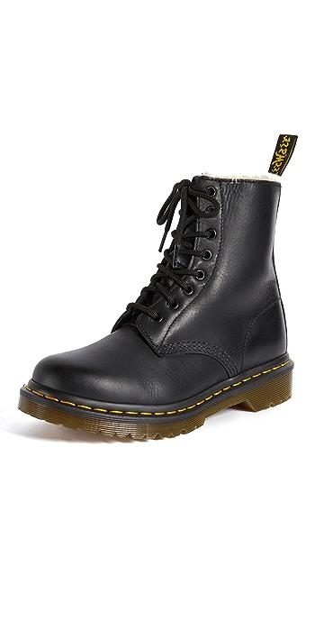 Dr. Martens 1460 Serena 8 Eye Sherpa Boots - Black