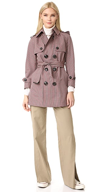 DSQUARED2 Checkered Trench Coat