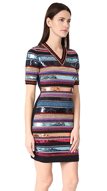 DSQUARED2 Short Sleeve Striped Dress